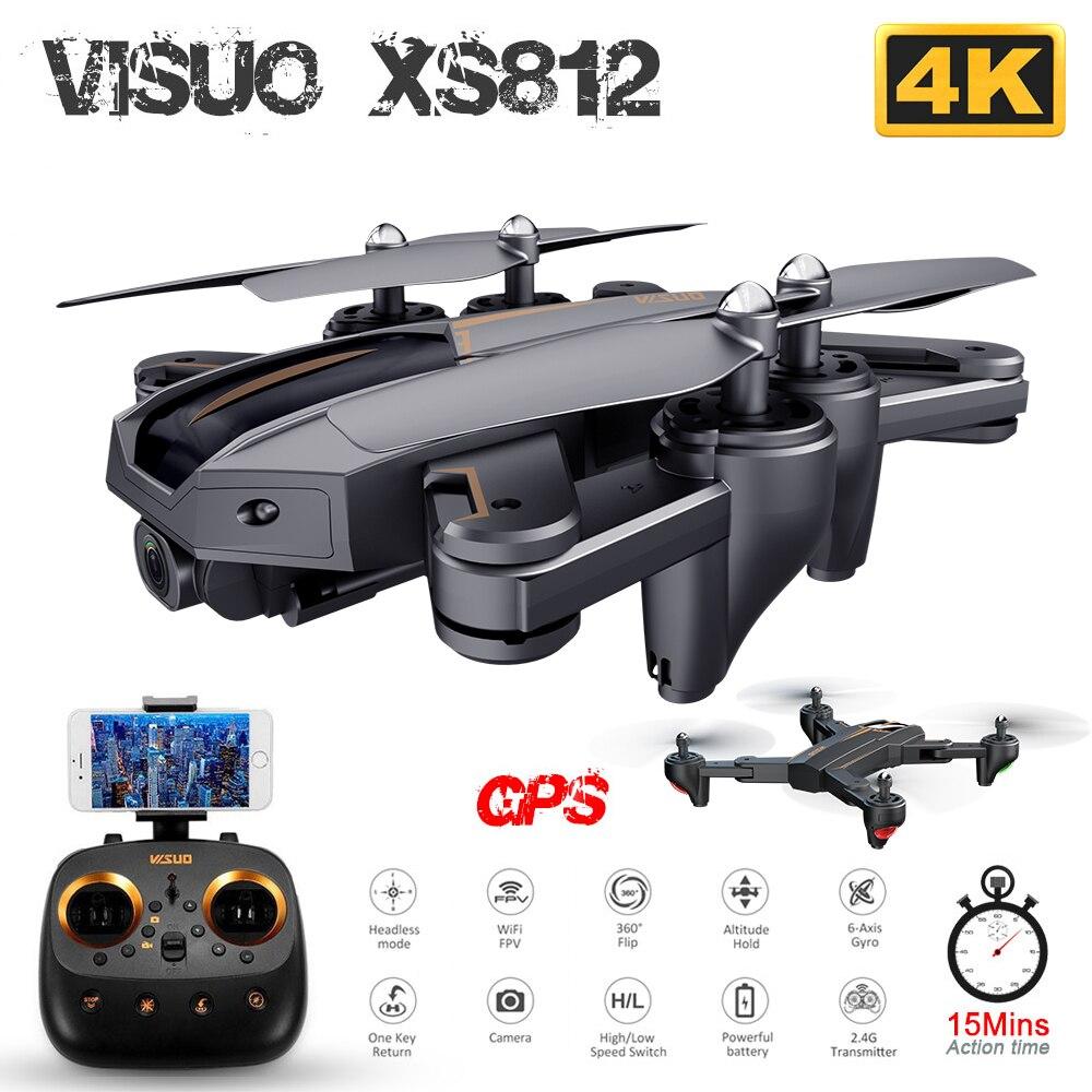 VISUO XS812 GPS RC Drone avec 1080 P/4 K HD caméra 5G WIFI FPV Altitude tenir une clé retour RC quadrirotor hélicoptère VS XS809S E58