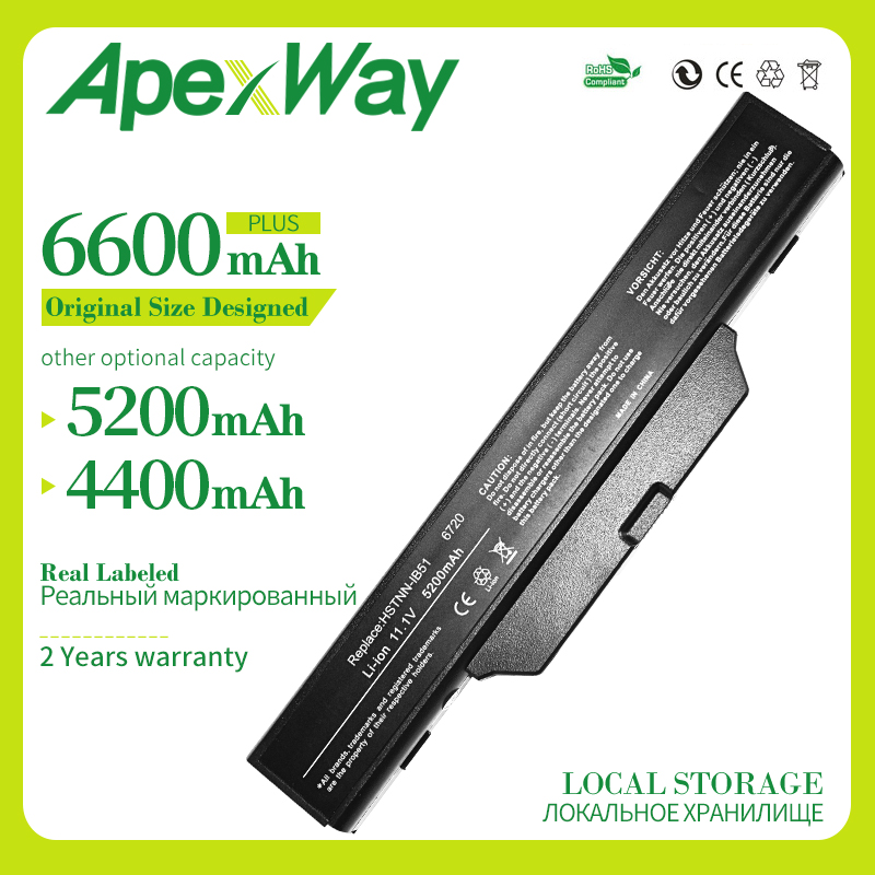 Apexway 6 cells laptop battery For <font><b>HP</b></font> COMPAQ 550 510 610 6720s 6730s 6735s <font><b>6820s</b></font> 6830s HSTNN-IB62 HSTNN-OB62 HSTNN-IB51 image