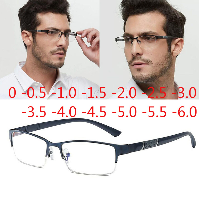 Half Metal Frame Nearsighted Glasses Unisex Myopia Resin Clear mirror 0 -0.5 -1 -1.5 -2 -2.5 -3 -3.5 -4 -4.5 -5 -5.5 -6 image