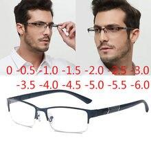 Gafas de miopía de medio marco de Metal Unisex, graduadas, para miopía, 0-0,5-1-1,5-2-2,5-3 -4 -5 -6, lectura + 1,0 + 1,5 + 2,0 + 3 + 4