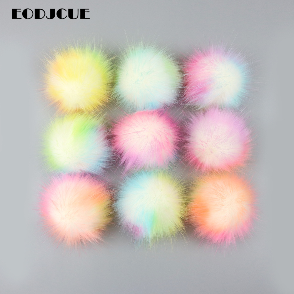 Factory Price! 12CM Colorful False Hairball Hat Ball Pompom Handmade DIY Artificial Ball Accessories Faux Fox Fur With Buckle