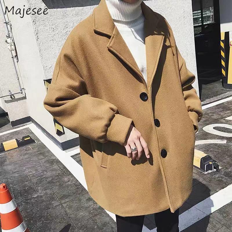 Wool Men Khaki Turn-down Collar Loose 3XL Pockets Mid-long Winter Blends Coat Mens Outwear Korean Style Harajuku Chic All-match
