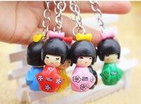 100pcs/Lot Mixed Japanese Kimono Girl Keychain Wood Cartoon Doll Keychain Puppet Key Chain Girls Keyring