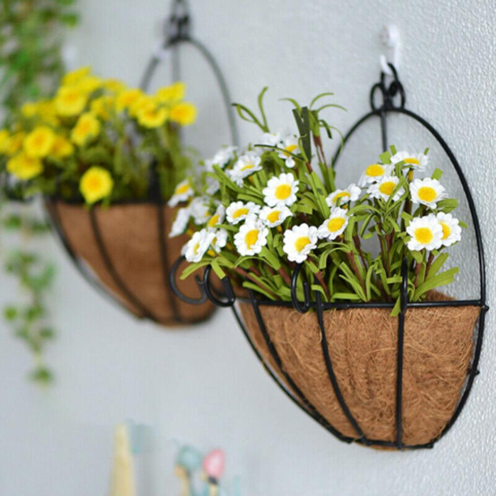 Wicker Rattan Flower Basket Plant Pot Holder Home Wall Hanging Garden Decor