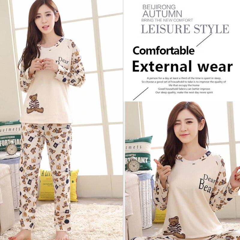 Women Pajamas Set pajamas for women New Thin Cartoon pijamas Printed pijama Women Long Sleeve Cute Sleepwear Casual 5