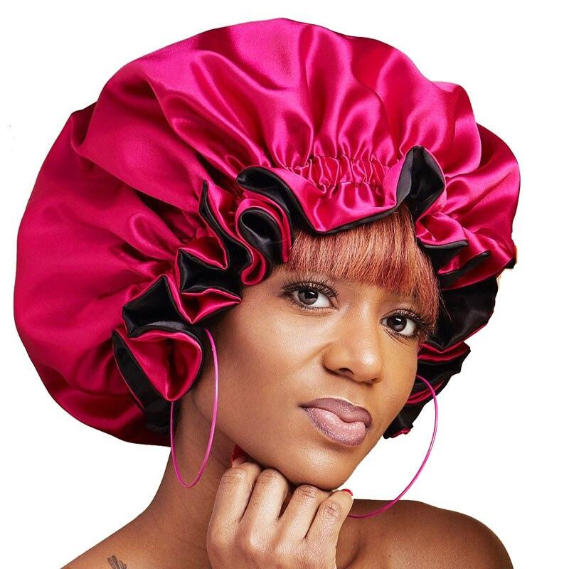 200 PCS Reversible Satin Bonnet Double Layer Adjustable Size Sleep Night Cap Head Cover Bonnet Hat Beanies Wholesale