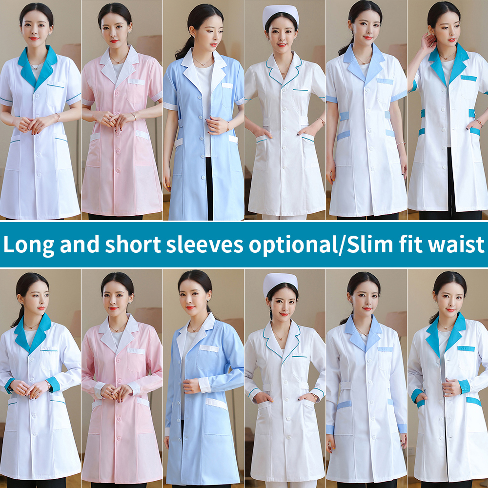 MSORMOSIA Unisex White Medical Coat Clothing Medical Services Uniform Nurse Clothing Long Short Sleeve Protect Lab Coats Gown