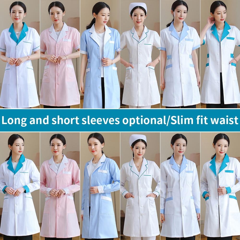 MSORMOSIA Unisex White Medical Coat Clothing Medical Services Uniform Nurse Clothing Long Short Sleeve Protect Lab Coats Gown