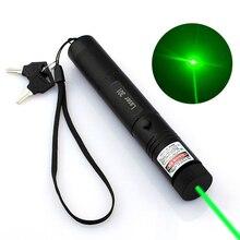 Охота Высокая мощность регулируемый фокус сжигание зеленая лазерная указка ручка 532nm непрерывная линия от 500 до 10000 метров лазер 301 диапазон