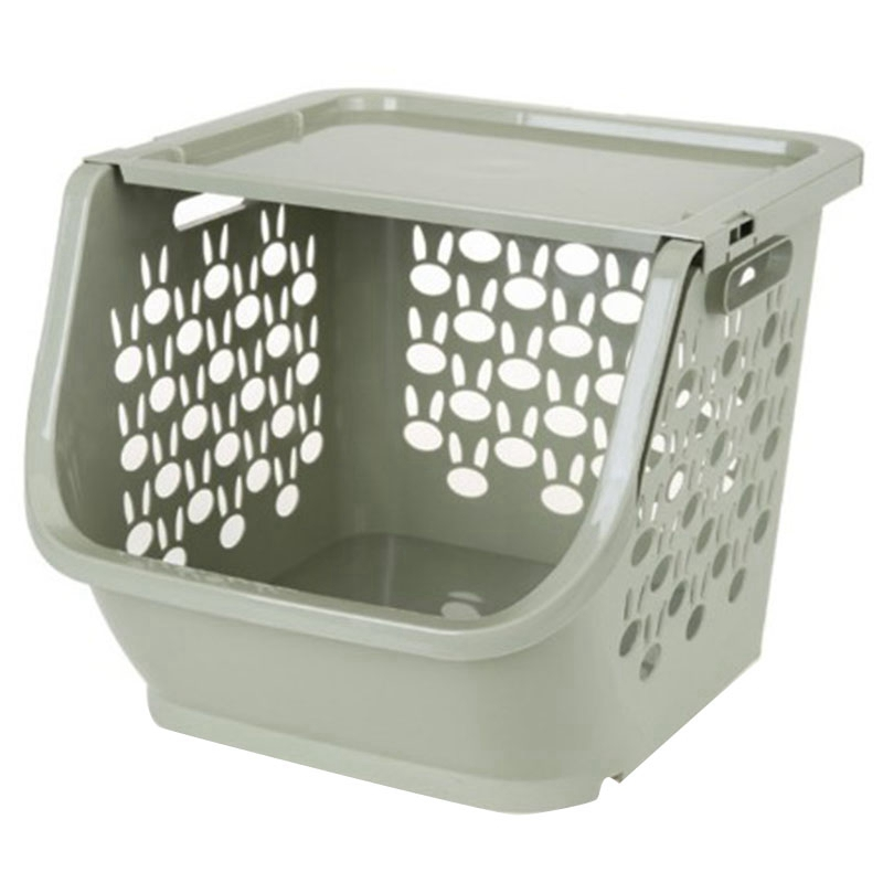 Kitchen Storage Basket Plastic Multi-Functional Hollow Vegetables Fruit Racks With Cover Storage Basket For Organizers (Green)