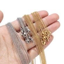 Lot de 10 chaînes, plaqué or et acier inoxydable, 1.5mm de large, colliers, ras de cou, pour vente en gros de 45cm + 5cm