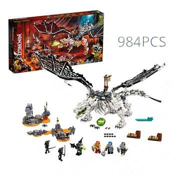 Bloques de construcción modelo de dragón de brujo Ninjagoed para niños, 2020,...