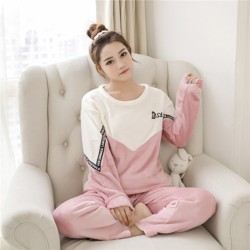 Flannel Adult Animal Pijama Full Sleeve Pajamas For Women Warm Homewear Pyjama Suit Soft Comfortable Sleepwear Night Clothes Set
