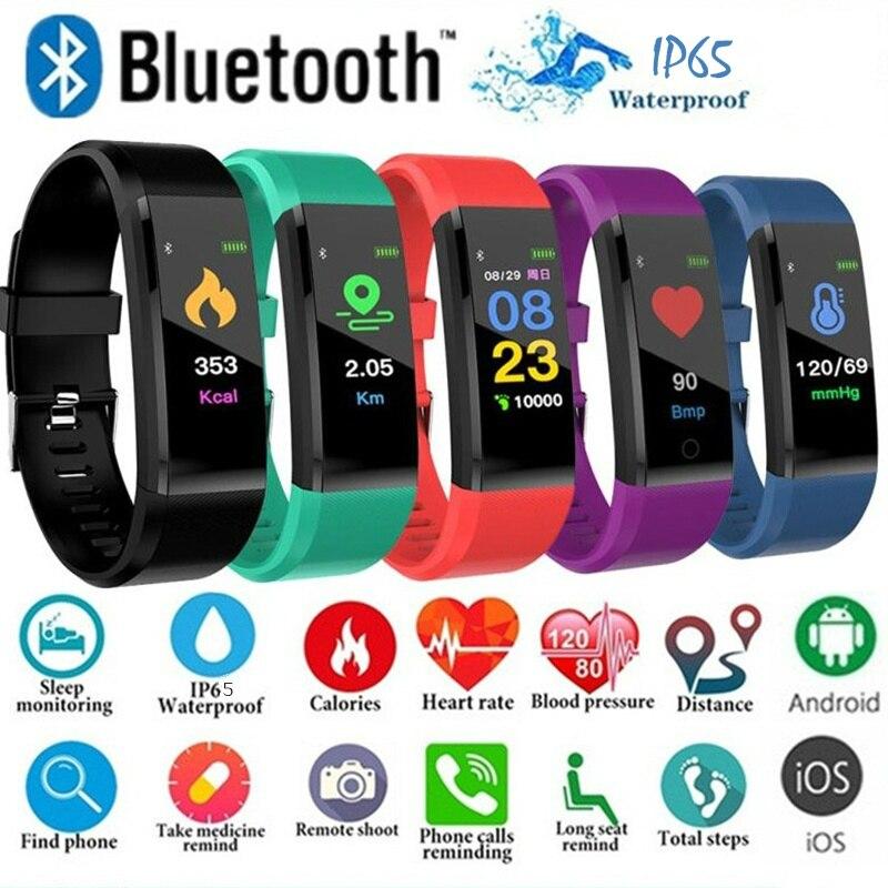115 plus bluetooth relógio inteligente monitor de freqüência cardíaca pulseira inteligente rastreador de fitness pulseira ip65 à prova dip65 água relógio de pulso das mulheres dos homens
