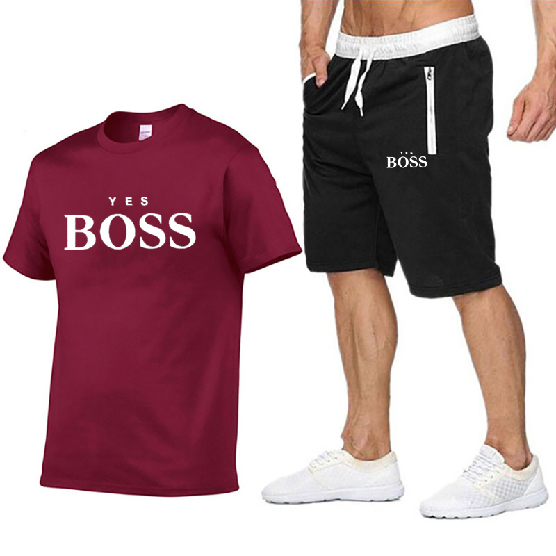 Summer sportswear jogging round neck shorts T-shirt clothing brand clothing men's T-shirt clothing + beach casual shorts set