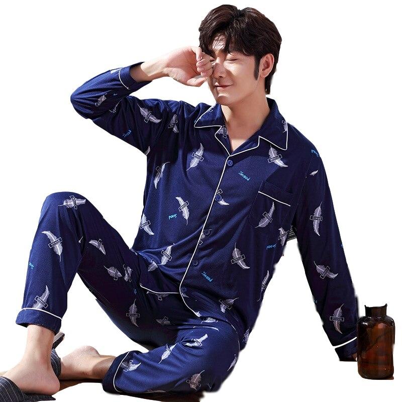 2019 Autumn Pajama Set Men Cotton Pajamas For Men Set Leisure Sleepwear Men Pajamas Big Size Men Pajamas Long Sleeve Spring