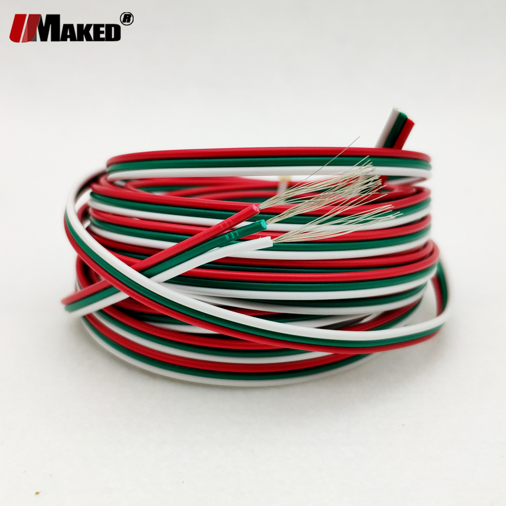 10m/lot 22 AWG led strip cable <font><b>3pin</b></font> <font><b>wire</b></font> (UL2468) strip extend connector tinned <font><b>Wire</b></font>,electronical <font><b>wire</b></font> Connect power free ship image