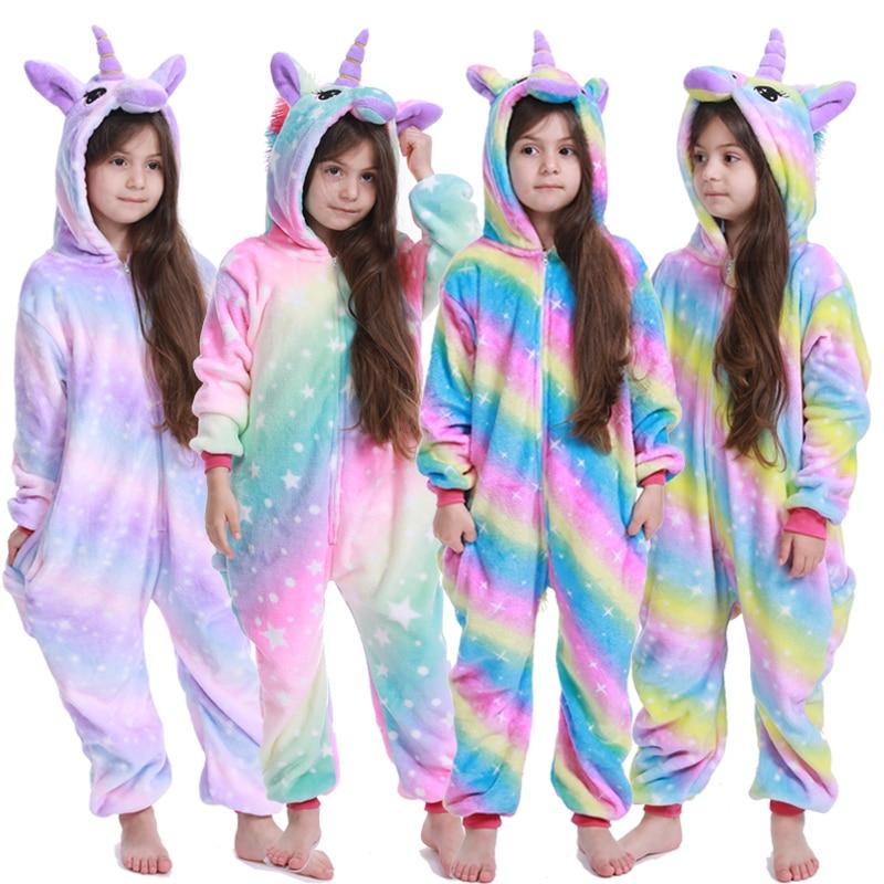 Зимние пижамы кигуруми для мальчиков и девочек; комбинезон с единорогом и аниме животными; детская одежда для сна; фланелевый теплый комбинезон; детские пижамы