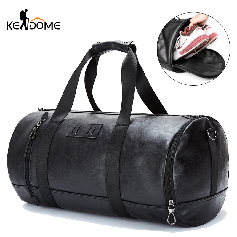Men PU Leather Gym Bag Fitness Training Handbag Travel Duffel Luggage Shoulder Crossbody Sac De Sport Deportivo Mujer XA196D