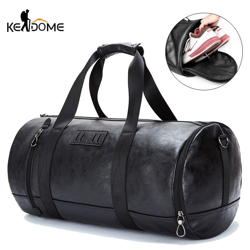 Men PU Leather Gym Bag Fitness Training Handbag Travel Duffel Luggage Shoulder Crossbody Sac De Sport Deportivo Mujer XA196D
