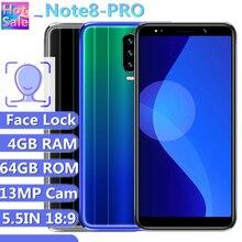 Téléphones portables Note 8 Pro téléphones portables 13MP 4GB RAM 64GB ROM 5.5 pouces 18:9 écran Smartphones Android visage téléphones déverrouillés