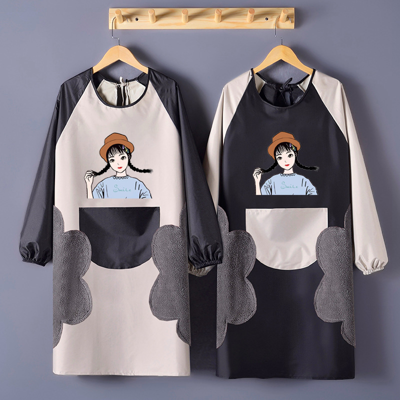 Wipable Hand Long Sleeve Apron Cute Fashion Kitchen Waterproof Oil Resistant Adult Men And Women Overclothes Work Clothes|Oversleeves| |  - title=