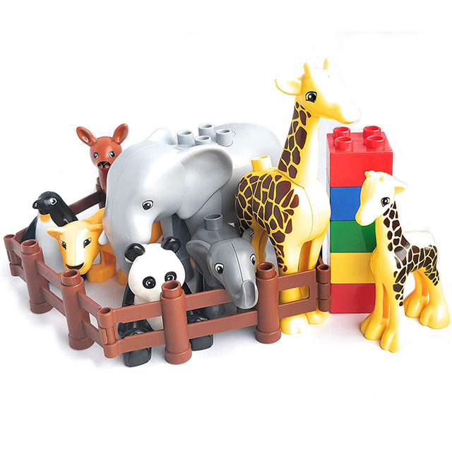 Duploe Big Size Diy Building Blocks Animal Accessories Figures Lion Panda Compatible with Duploed Toys for Children Kids Gifts 3
