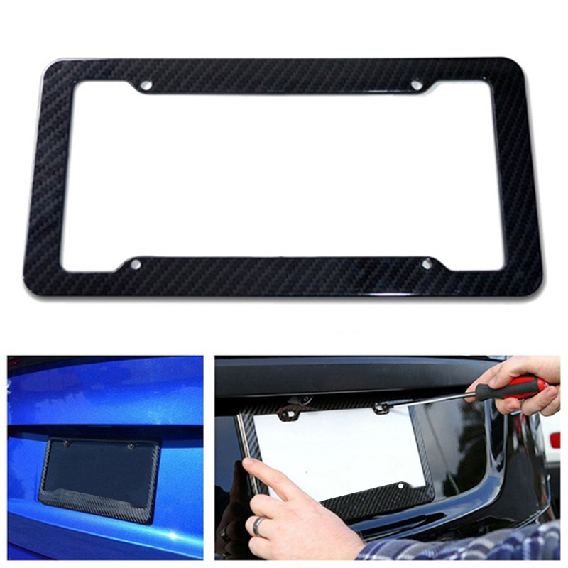 Universal License plate frame American Carbon Fiber License Plate Frames Cover for Front Rear Bracket Car Styling Accessories