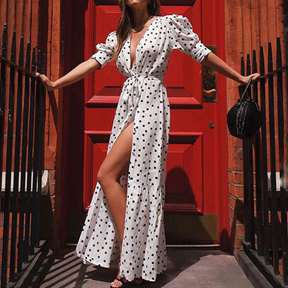 Women Polka Dots Half Sleeve A-Line Long Dress Bohemian Spring Summer Elegant V-Neck Lace Up Maxi Dress Beach Sundress Vestidos