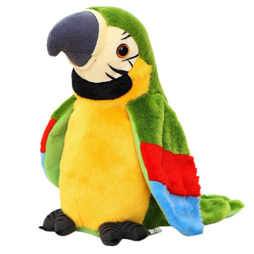 Electric Talking Parrot Plush Toy Cute Speaking Record Repeats Waving Wings Doll