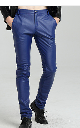 2019 Men New Winter Leather Pants Fashionable Bound Feet Pants Tight Motorcycle Wagon And Velvet PU Trousers
