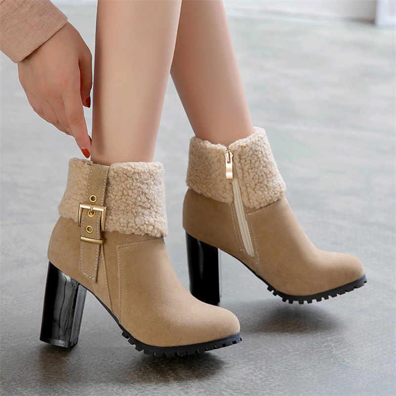 FEDONAS Klasik Sonbahar Kış Kadın sıcak yarım çizmeler Yüksek Topuklu Toka Fermuar rahat ayakkabılar Kadın Artı Boyutu Platformu kısa çizmeler