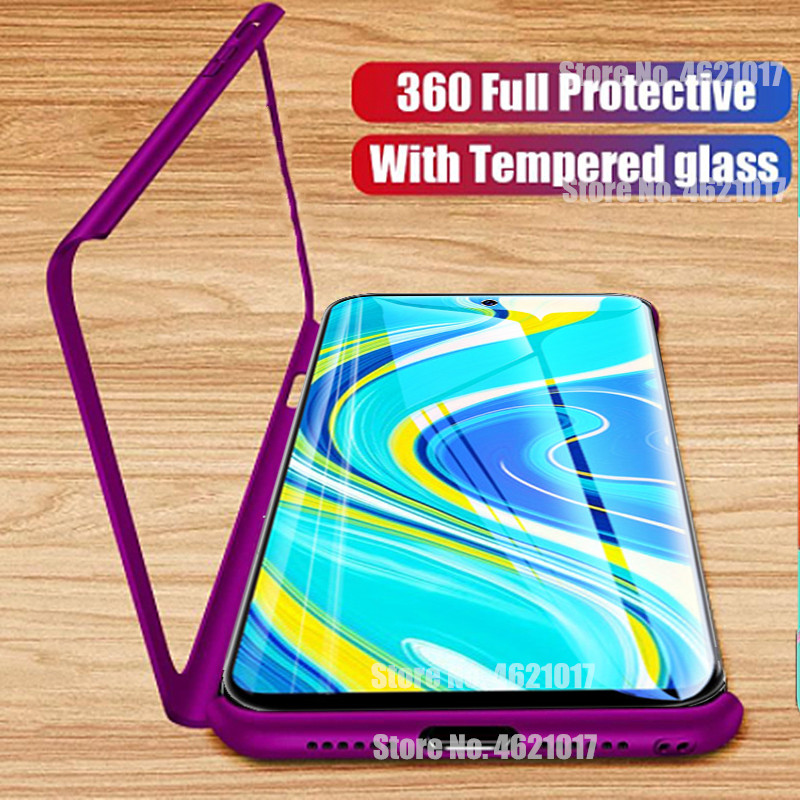 360 Full Protective Case For Redmi 4X 7A 6A Note 9S 9Pro 7 8 8T For Xiaomi Mi9 Mi A3 Lite 9T Pro Hard PC Cover Case With Glass(China)