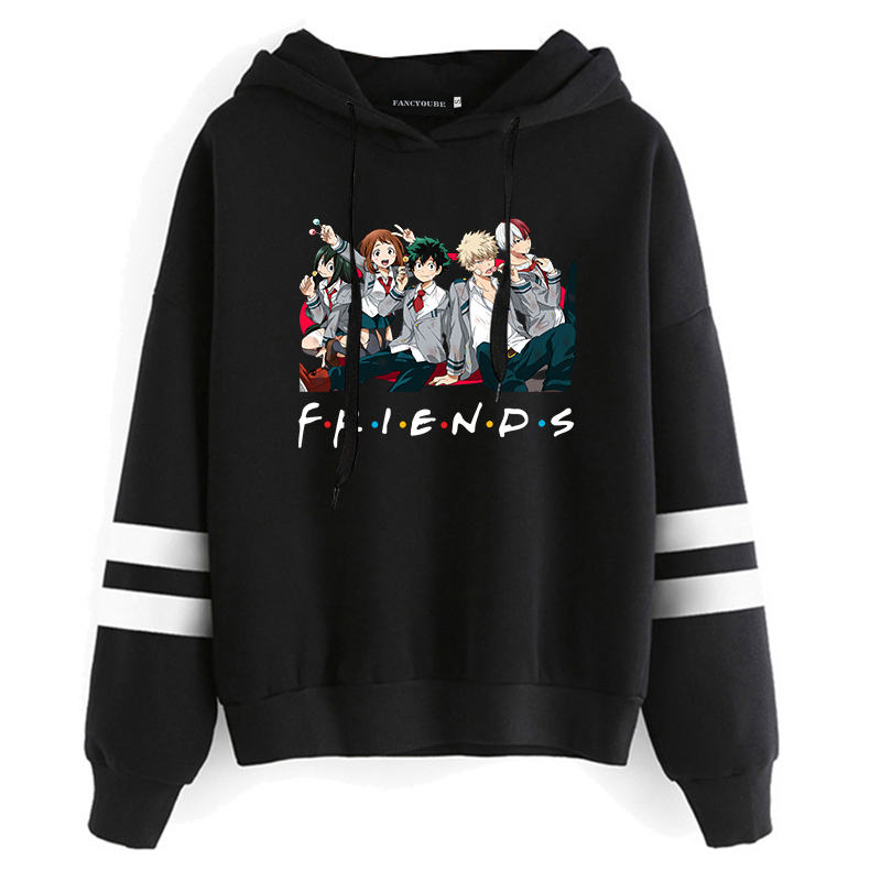 My Hero Academia Anime Sweatshirt Long Sleeve Casual Cartoon Printing Hooded Sweatshirt Japanese Anime Friends Hoodie Pullover