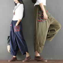 Win Photo Shoot 2019 Spring Clothing New Style Ethnic Patchwork Cotton Linen Loose Pants Loose-Fit LADY'S Pants deal
