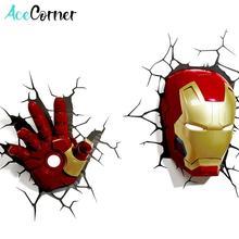 Acecorner Iron Man Face Hand 3D Creative Wall Lamp LED Night Light Avengers Marvel Bedroom Living Room Boys Kids Christmas Gift