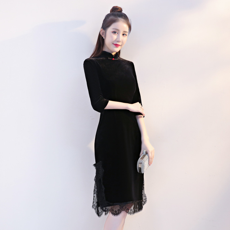 Sheng Coco Black Velvet Evening Dress Traditional Chinese Clothing For Women Lace Long Sleeve Embroidery Chipao Dresses