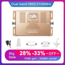 2G 3G 4G double bande 1800/2100MHz amplificateur de téléphone portable 2g3g4g répéteur DCS UMTS signal mobile booster kit costume pour ue Assia afrique