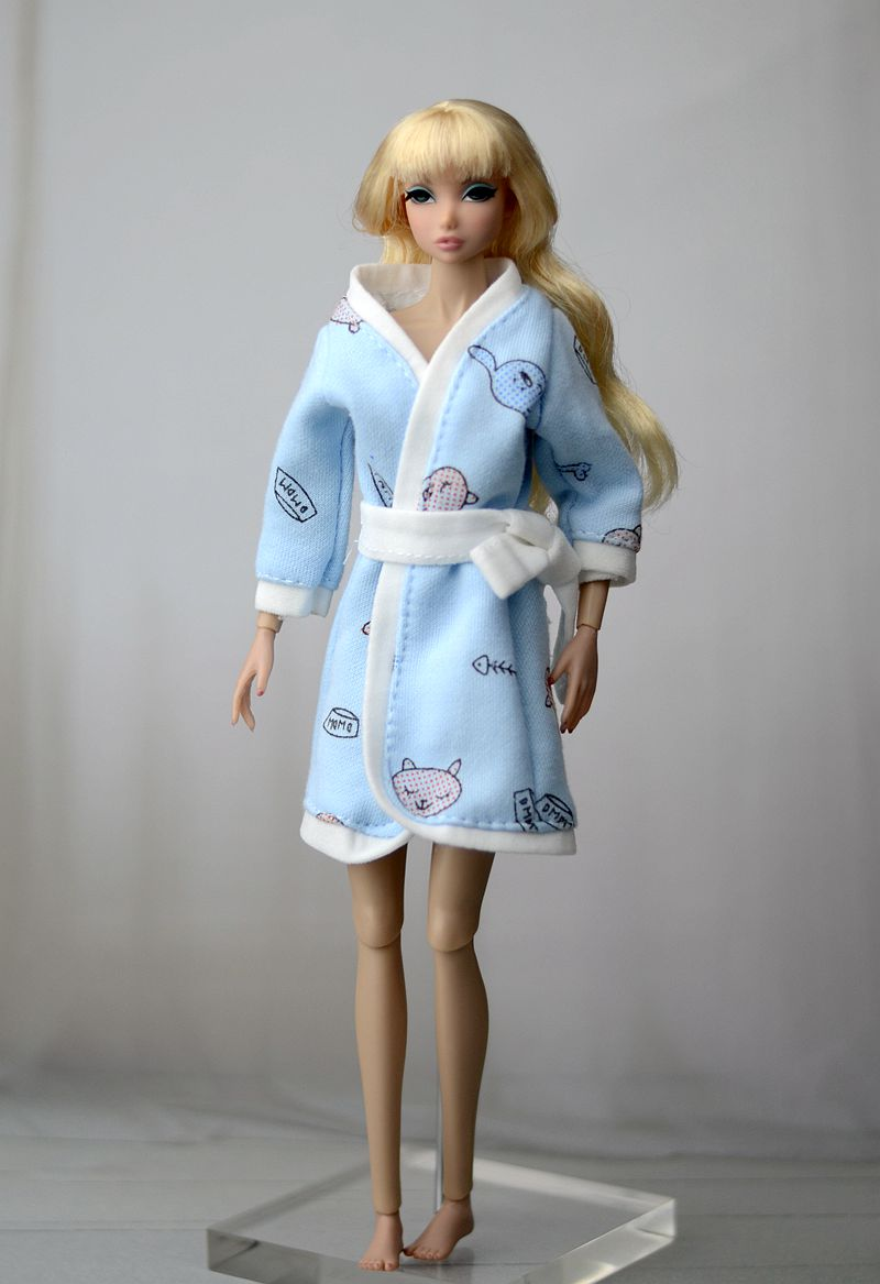 Pink Gray Heart Bathrobe For Barbie Doll Bathroom Suits Winter Pajama Wear Sleeping Casual Clothes For Barbie Play House Kid Toy