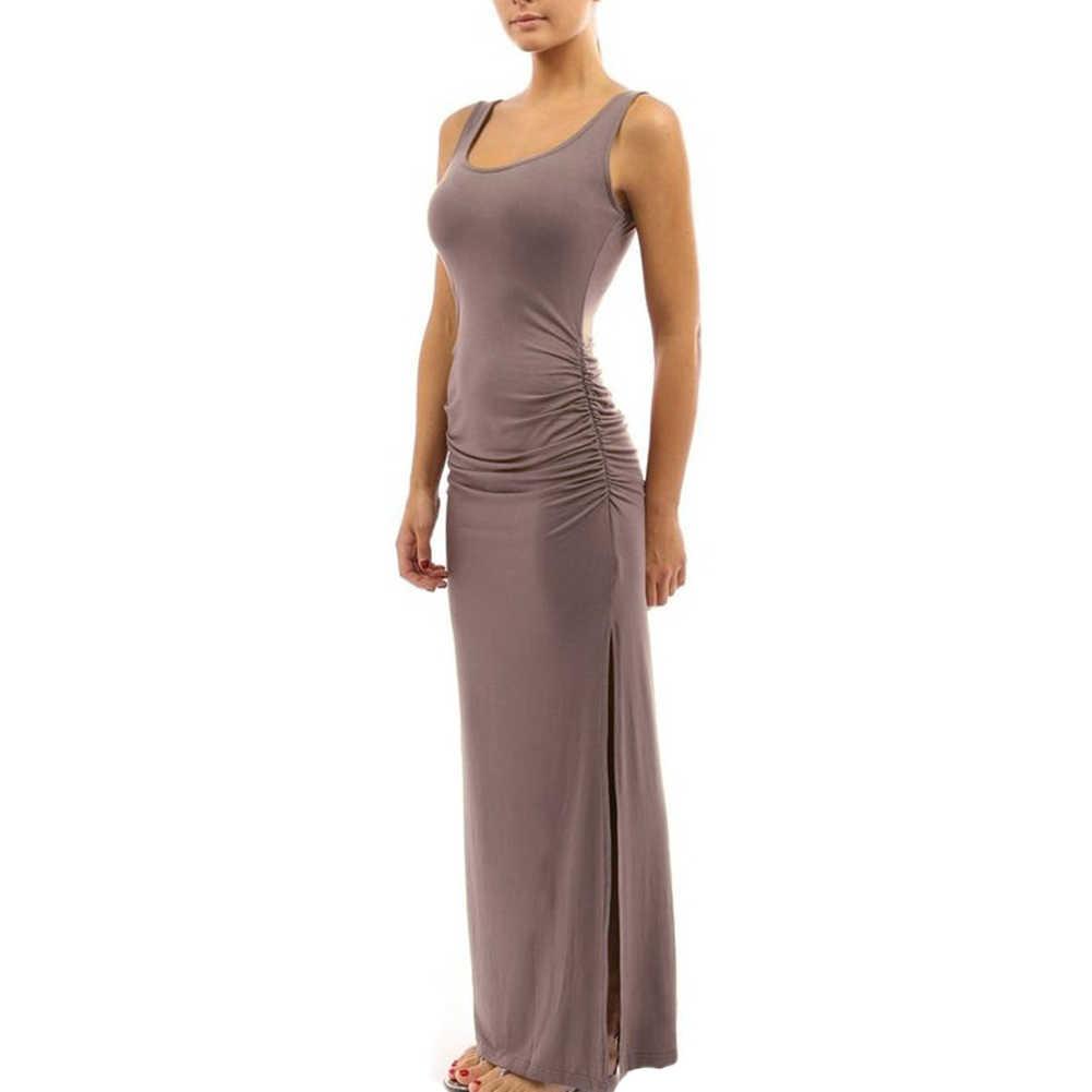 솔리드 컬러 여성 특종 목 민소매 여름 맥시 사이드 분할 ruched 긴 드레스 2020 새로운 여성 의류