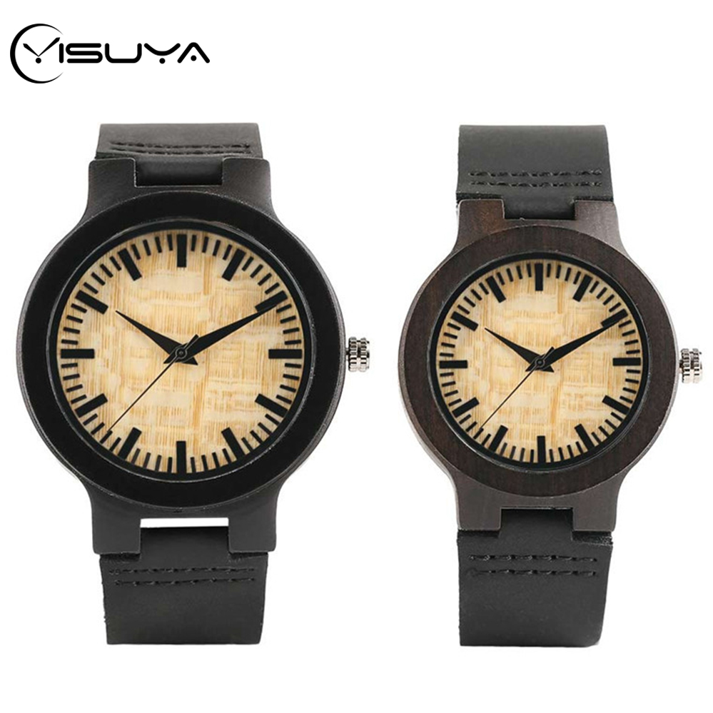 YISUYA Top Gifts For Lovers Couple Luxury Royal Beige Dial Ebony Wood Quartz Watch Natural Wooden Leather Mens Watch Wrist Gifts