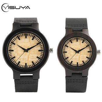 YISUYA Top Gifts for Lovers Couple Luxury Royal Beige Dial Ebony Wood Quartz Watch Natural Wooden Leather Mens Watch Wrist Gifts redear top quality wood men watch automatic zebra wood and ebony black watch the best gift for man without logo