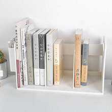ABS White Desktop Bookends With Pen Holder Box Desk Books File Bookend Storage Rack For Children Student Bookends Rack
