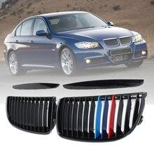 Для BMW E90 E91 4 двери 2005 2006-2008 4 цвета пара передний матовый блесек для губ Карбон M Цвет Черный 2 линии двойная планка решетка для почек гриль