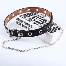 Women Punk Chain Fashion Belt Adjustable Black Double/Single Eyelet Grommet Leather Buckle