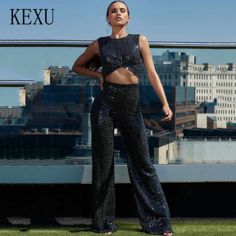 Kexu расшитые блестками расклешенные брюки модные комплекты из двух предметов сексуальные без рукавов Полые блестящие Свободные Комбинезоны летние шикарные комбинезоны