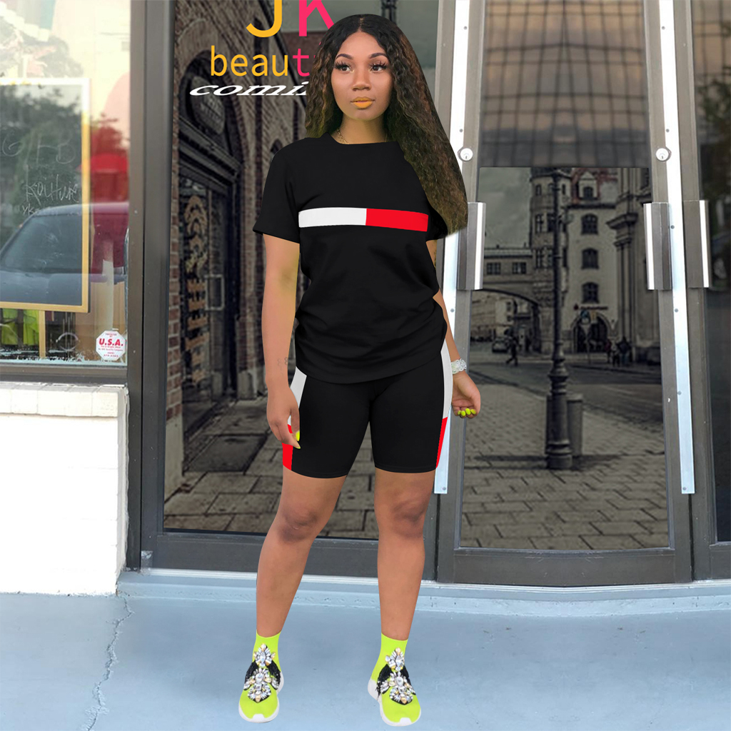 2020 New Summer Women's Two Piece Biker Shorts Sets T-shirts Top +Biker Shorts Jogger 2 Piece Set Casual Active Tracksuit Outfit