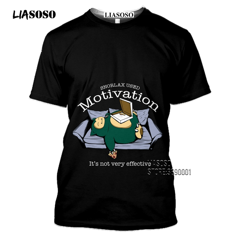 Japan Cartoon Snorlax T shirts Men 3D Print Kawaii Pokemon Tshirt Summer Casual Harajuku Shirt Fitness Hip Hop Tops Streetwear 2