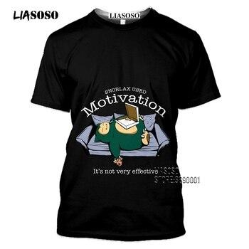 Japan Cartoon Snorlax T shirts Men 3D Print Kawaii Pokemon Tshirt Summer Casual Harajuku Shirt Fitness Hip Hop Tops Streetwear 2