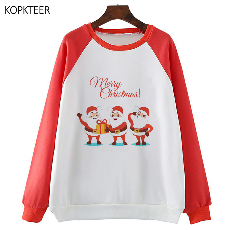 Christmas Santa Claus Hoodies Women Harajuku Aesthetic Hoodies Ulzzang Kawaii Grunge Streetwear Top Long Sleeve O Neck Pullovers